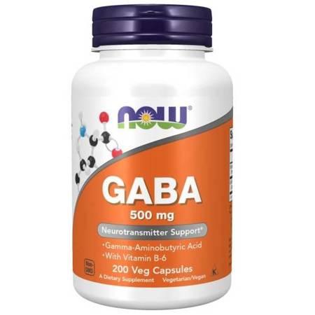 Now Foods GABA (Kwas Gamma Aminomasłowy) 500 mg 200 veg kapsułek