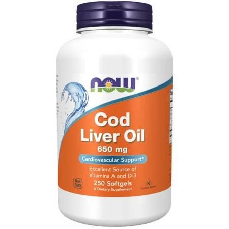 Now Foods Olej z wątroby Dorsza (Cod Liver Oil) 650 mg 250 kapsułek