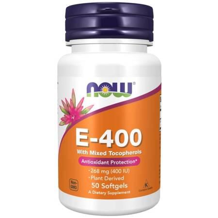 Now Foods Witamina E-400 (z mieszanką tokoferoli) 50 kapsułek