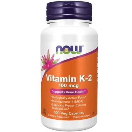 Now Foods Witamina K2 100 mcg i Lucerna 250 mg 100 veg kapsułek