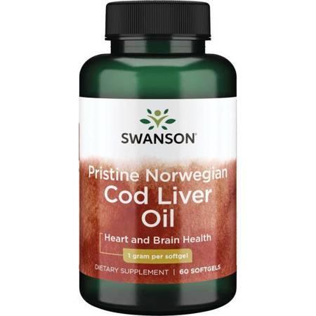 Swanson Olej z wątroby Dorsza (Norwegian Cod Liver Oil) 1000 mg 60 kapsułek